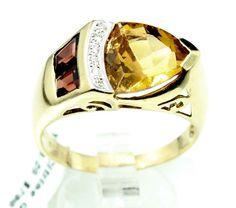 14K YELLOW GOLD Citrine Garnet 5.0CT DIAMOND COCKTAIL RING 5.6 gr size 9.25 B4 #Cocktail #COCKTAIL