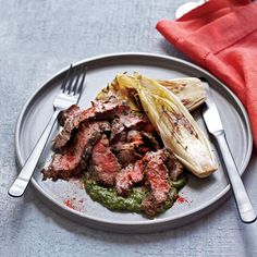 Grilled Skirt Steak with Salsa Verde | Skirt steak, nicely marbled with fat, takes well to marinades, like this simple mix of herbs and garlic. Mario Batali accents the grilled meat with a sauce made with more herbs and garlic, plus capers and anchovies; he likes to make his salsa verde superthick.