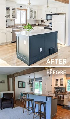Update your kitchen with this tutorial for a DIY Kitchen Island Makeover. Customize it with trim, paint, and new hardware. #kitchen #kitchenisland #kitchendesign #diyhome #diyproject #doityourself #diy Kitchen Island Makeover, Diy Kitchen Island, Kitchen On A Budget, Diy Furniture Projects, Furniture Makeover, Diy Projects, Kitchen Renovation Inspiration, Kitchen Design, Kitchen Decor
