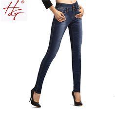 Barato HG # X10 2016 outono de cintura alta jeans skinny mulheres de corpo inteiro calças jeans femininas de três botões fly high rise calças apertadas senhora, Compro Qualidade Calças de brim diretamente de fornecedores da China:                      Bem-vindo ao  calor gzli  Moda Loja de jeans                                      Nossa loja: