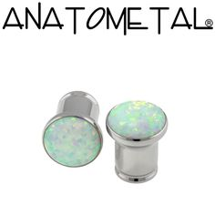 0ga Single Stone Eyelets in stainless steel; synthetic opal #17 (white) gems