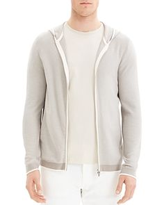 Theory Braghe Regular Fit Zip Hooded Cardigan In Parchment Multi Hooded Cardigan, Theory, Hoods, Leather Jacket, Mens Fashion, Zip, Fitness, Sweaters, Jackets