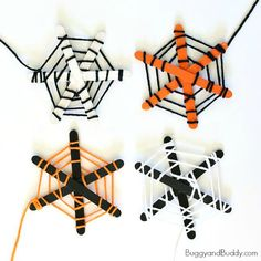 Here's a fun Halloween craft for kids that works on fine motor skills and turns out really cute- a spiderweb craft made with popsicle sticks and yarn!