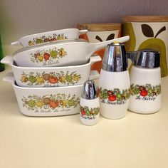 Vintage Corningware Spice of Life 7 Piece Bakeware by foxandbranch, $37.00