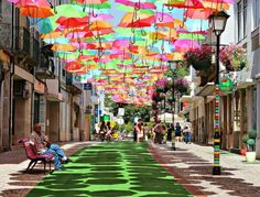 Colorful streetscape in Portugal.  Inspiration for a geometric canopy?