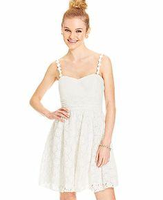 Speechless Juniors' Lace A-Line Dress - Juniors Dresses - Macy's