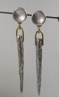 """Textured Silver and 14K Gold 'Sword"""" Earrings. Anna Vosburg Design"""