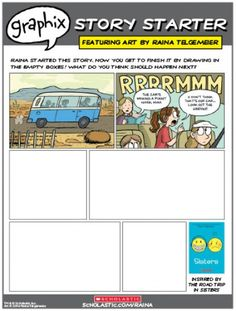 """Jumpstart your child's creative writing with this comic-strip-themed printable based on the graphic novel """"Sisters"""" by Raina Telgemeier."""