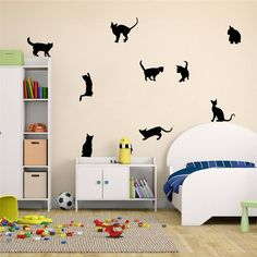 Wall StickersGOODCULLER Cats Wall Stickers Art Decals Mural Wallpaper Decor Home Room DIY Decoration Background Decorated Decal Home Decor -- You can find more details by visiting the image link. Decoration Stickers, Wall Stickers Murals, Vinyl Wall Decals, Cat Stickers, Wall Decorations, Mural Wall, Kids Room Murals, Bedroom Murals, Room Kids