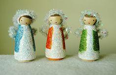 Glittered angel peg dolls