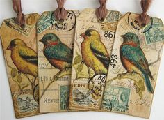 altered art bird tags.  BOOKMARKS