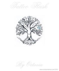 Family Tree Tattoo Flash Tree Tattoo Flash by OctaviaTattoo