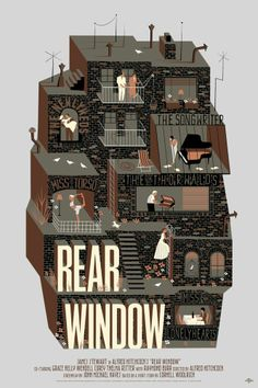 Alfred Hitchcock's Rear Window illustrated poster. #beautiful #illustration #poster