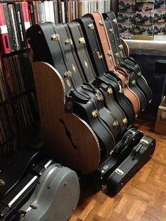 The Studio™ Deluxe Guitar Case Rack Guitar Stand, Guitar Case, Guitar Room, Music Guitar, Guitar Storage, Band Rooms, Victorian Kitchen, Home Studio Music, Studio Organization