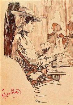 Frantisek Kupka ~ Women in the Tavern, 1903 (ink on paper) Kandinsky, Van Gogh, Frantisek Kupka, August Macke, Francis Picabia, Drawing Sketches, Drawings, Georges Braque, Art Database