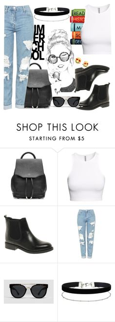 """""""back to school outfit"""" by style2016basma ❤ liked on Polyvore featuring rag & bone, H&M, ASOS, Topshop, Odin, Miss Selfridge, Kate Spade, outfit, school and swag"""