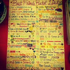 bucket list for bff | Best Friend Bucket List. So fun!!