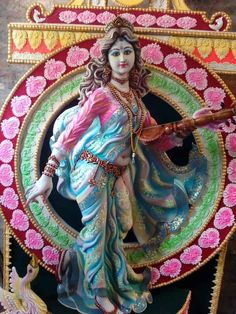 Saraswati Murti, Durga Kali, Saraswati Goddess, Shiva Hindu, Hindu Deities, Hindu Art, Radha Krishna Wallpaper, Radha Krishna Images, Krishna Art