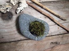 hand engraved beach stone flower planter candleholder by Mihulli