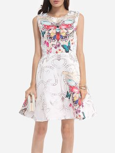 #AdoreWe #FashionMia Skater Dresses - FashionMia Printed Glamorous Round Neck Skater-dress - AdoreWe.com