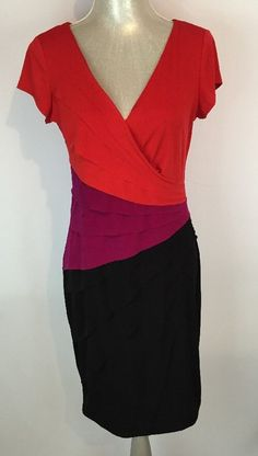 London Times Dress Color Block Cocktail Attire Size 8 Red Pink Black Sexy #LondonTimes #CocktailFormal