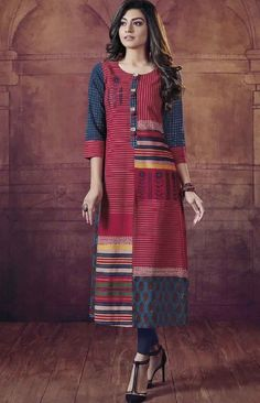 Cotton printed mix-match kurti with buttons detailing and prints placement