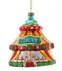 """Katherine's Collection Noel Christmas Collection Six Assorted 4"""" Noel Circus Tent Glass Ornaments Free Ship"""