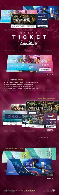 Concert \ Event Tickets Passes - Version 2 Event ticket, Print - banquet ticket template