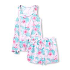 4548e06fe #childrensplace - Girls Tropical Flamingo Racerback Tank Top And Shorts  Pajamas