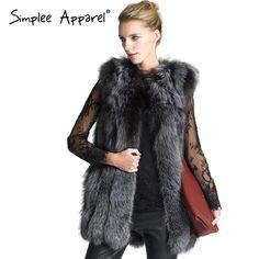 2b9725fe602 Simplee Apparel faux fox faux fur vest coat for women Autumn fashion long  fluffy female warm