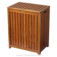 This teak laundry basket has a hinged lid and side handles for easy carrying. The slatted design offers ventilation. Wood Hamper, Canvas Laundry Hamper, Wicker Laundry Hamper, Laundry Room, Laundry Basket, Laundry Decor, Bamboo Cabinets, Wood Spa, Bamboo Shelf