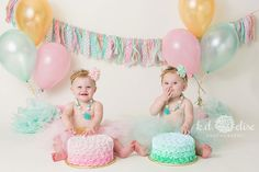 Twins pink, gold and mint green cake smash by Colorado Springs photographer K.D. Elise Photography.