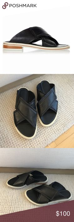 Tibi Blythe Slide-On Sandals Practically new! Been sitting in my closet after wearing around the house for an hour. I'm a 6.5 normally, but these seem to run a little tight so I listed them as a size 6. Super comfy! Tibi Shoes Slippers