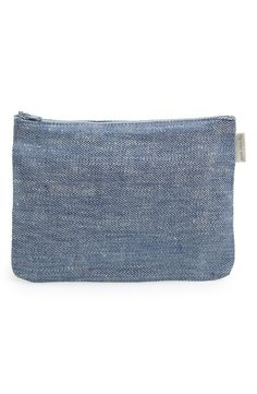 'Bonica' Linen Zip Pouch / Fog Linen