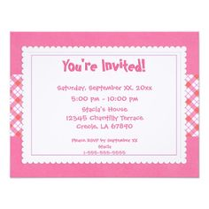Pink and White Plaid Party Invite