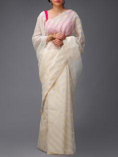 Ivory-Golden Banarasi Tusser-Silk Saree by Ekaya