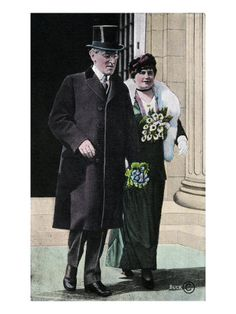 Woodrow Wilson - American President of the United States (1913-1921) with his wife