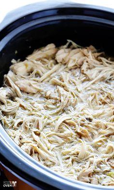 4-Ingredient Slow Cooker Salsa Verde Chicken  6 chicken breasts, 2C salsa verde, 1 bottle beer, 2tsp cumin.  Optional jalapeño