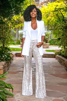 Page 2 – Daily outfits from Folake Kuye Huntoon Sequin Outfit, Sequin Pants, Silver Sequin Dress, Sequin Blazer, Blazer Outfits, Chic Outfits, Fashion Outfits, Tomboy Outfits, Emo Outfits