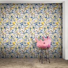 A bold and contemporary hand-drawn designer wallpaper, with influences from cartographic maps, graffiti and vintage wallpapers. Graffiti Wallpaper, Graphic Wallpaper, Original Wallpaper, Colorful Wallpaper, Photomontage, Wallpaper Crafts, Urban Design Diagram, Funky Design, Designer Wallpaper