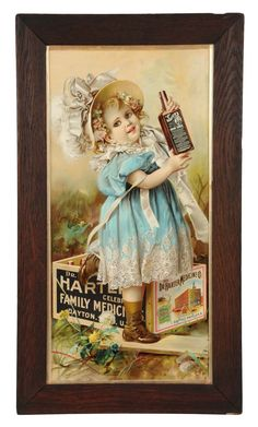 "March 30th Auction. Dr. Harter Medicine Company Advertising Sign. Paper poster framed under glass. Exhibits no wear and strong vibrant color. Framed: 32-1/4"" x 18-1/4"". #Doctor #Medicine #Tonic #Child #Sign #MorphyAuctions"