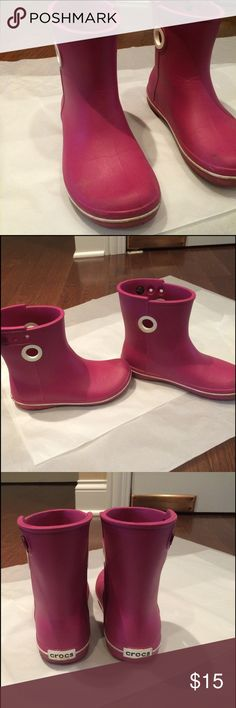 """Size 5 Crocs rain boots Water proof pink rain boots by Crocs. Just above the ankle, about 7.5"""" high.  Cute! CROCS Shoes Winter & Rain Boots"""