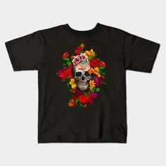 Sugar skull with flowers Kids T-shirt #teepublic #tee #tshirt #clothing #daisy #roses #floral #flower #indianchief #chief #owls #sugarskull #skull #pattern #owl #nativeamerican #native #indian #diadelosmuertos #muertes #mexicanart #dayofdead #mexicoskull #mexicosugarskull #halloween #thedayofthedead