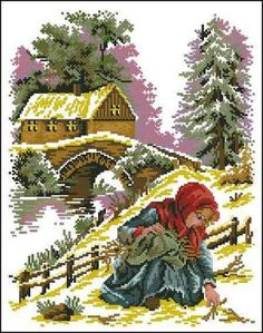 Cross Stitch House, Xmas Cross Stitch, Cross Stitch Charts, Cross Stitch Embroidery, Cross Stitch Patterns, Cross Stitch Landscape, Scenery Pictures, Diy Christmas Ornaments, Paper Quilling