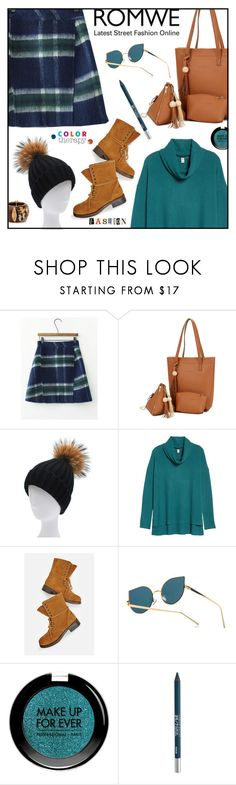 """Romwe Skirt"" by ana-angela ❤ liked on Polyvore featuring BP., JustFab, MAKE UP FOR EVER, Urban Decay and Therapy"