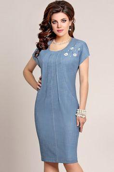 Платье VITTORIA QUEEN, Синий (модель 3663) — Белорусский трикотаж в интернет-магазине «Швейная традиция»