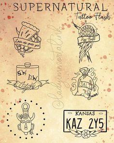 Supernatural Drawings, Supernatural Tattoo, Supernatural Wallpaper, Supernatural Quotes, Spn Tattoo, Tattoo Quotes, Tattoo Pain, Tattoo Flash Sheet, Tattoo Flash Art