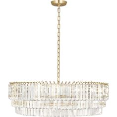 The Spectrum Large Chandelier from Robert Abbey adds a unique design statement to any space. Three oval tiers of crystal prisms hang from metal hooks, giving th