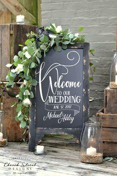 Welcome to our Wedding Chalkboard – Custom Wedding Chalkboard. Add your Name and Date - Outdoor Wedding ideas - Wedding Chalkboards for sale by Church Street Designs #churchweddingideas #outdoorweddings