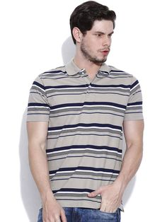 Dream of Glory Inc. Grey Striped Polo T-shirt